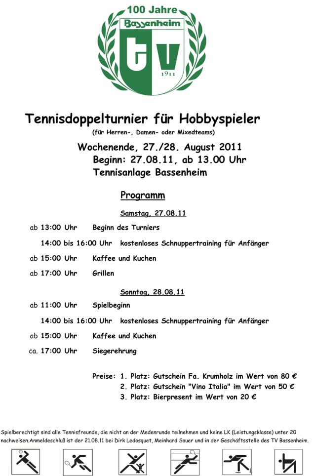 Tenniswochenende im Rahmen der 100 Jahrfeier – TV-Bassenheim 1911 e.V.
